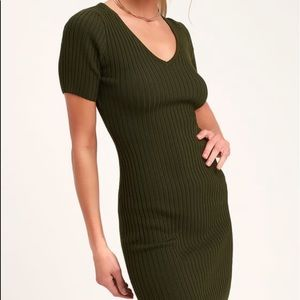 Janese Olive Green Ribbed Knit Bodycon Dress